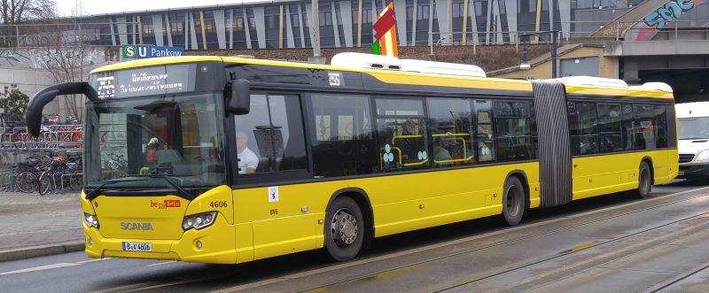 Foto: Bus 4606, Gelenkbus Typ Scania Citywide LFA, Berlin-Pankow, Februar 2017