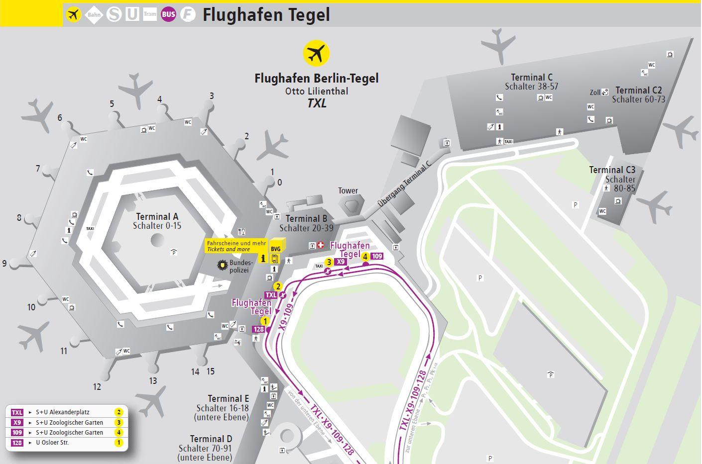 Anfahrt Flughafen Tegel